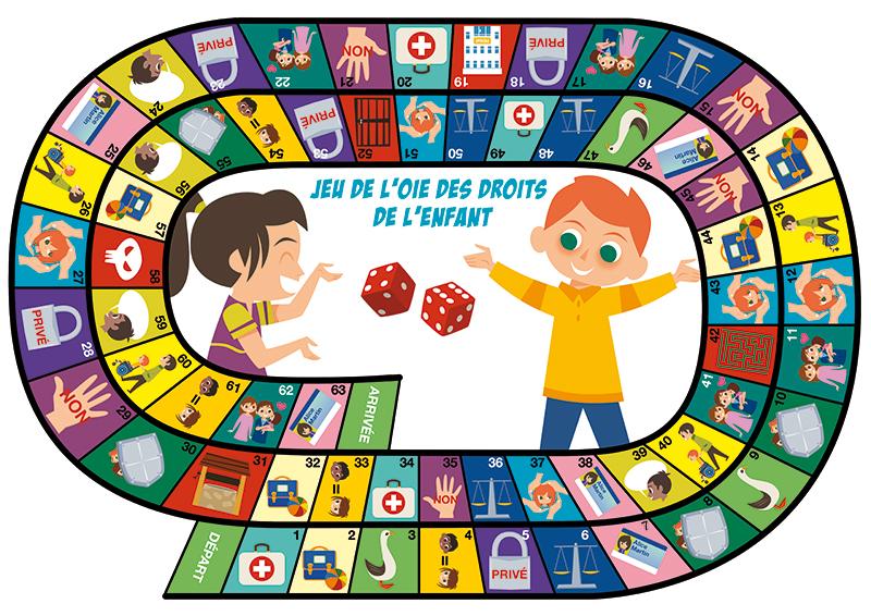 Plateau et règle du jeu de l'Oie des droits de l'enfant du Journal de l'Animation n° 202 | Le ...