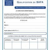 Modèle d'attestation de renouvellement Qualification Bafa