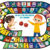 Plateau et règle du jeu de l'Oie des droits de l'enfant du Journal de l'Animation n° 202