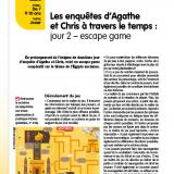 """Compléments de la fiche """"Les enquêtes d'Agathe et Chris à travers le temps : jour 2 – escape game?"""" paru dans Le Journal de l'Animation n° 212 (octobre 2020)"""